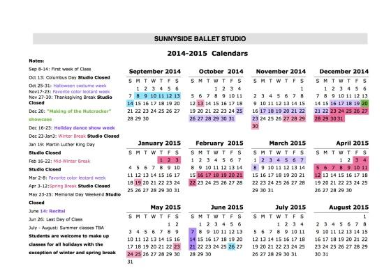 SBS Calendar 2014-15